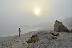 Os mundos da brétema - world of fog (Gato M) Tags: niebla bretema fog cloud sea beach mar sand she mer walk paxariñas sanxenxo galicia ela ella sol sun sunset solpor landscape paisaje nikon cielo roca arena océano playa agua