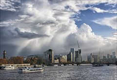 Storms Are A'comin. (jo92photos) Tags: riverthames london westminster stormclouds clouds weatherfront blackclouds approachingrain weather lambethbridge lambeth boats bridge
