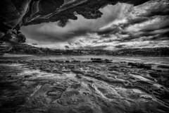 Shelter From A Storm (Peter Polder) Tags: australia bw beach exterior seascape skyline sky landscape monochrome mono ocean overcast q rocks sydney sea urban wave z