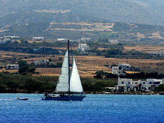 Sailing Coastwise (dimaruss34) Tags: newyork brooklyn dmitriyfomenko image greece antiparos aegeansee water yacht boat shore people buildings trees hill slope coast
