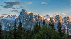 A Canadian Rockies Sunset (Philip Kuntz) Tags: sunset sundown lastlight evening dusk mtbident mtquadra mtbabel mountlittle mountbowlen tonsapeak canadianrockies morainelake morainelakeroad banff alberta canada