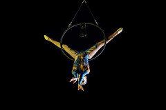 Circus (Zoom in please) (Franck Zumella) Tags: cirque circus spectacle acrobat acrobate dark darkness dim light woman rome roma artiste vol fly artistique grace aerialist 2470 tamron f28 28 서커스 马戏团