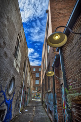 The Alley (next to Old City Java), 2018.11.06 (Aaron Glenn Campbell) Tags: murals wallart creatives creativity art brick building architecture alley oldcityjava oldcity downtown knoxville tennessee tn outdoors shade shadows sunlight sky clouds 3xp hdr ±3ev gritty textures macphun skylum aurorahdr nikcollection colorefexpro viveza sony a6000 ilce6000 mirrorless rokinon 12mmf2ncscs wideangle primelens manualfocus emount