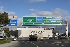 Signs everywhere at the Montague Street exit from the West Gate Freeway (Marcus Wong from Geelong) Tags: westgatebridge bridge road freeway melbourne spotswood yarrariver fishermansbend boxgirder m1