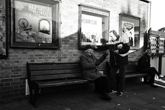 Bench Life (Bury Gardener) Tags: burystedmunds blackandwhite monochrome mono suffolk street streetphotography streetcandids snaps strangers candid candids people peoplewatching folks 2018 nikond7200 nikon england eastanglia uk britain cornhill