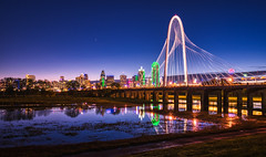 Night turns to morning (tquist24) Tags: dallas hdr margarethunthillbridge nikon nikond5300 outdoor ronaldkirkpedestrianbridge texas trinityriver bluehour bridge city cityscape downtown geotagged light lights longexposure morning reflection reflections river sky skyline starburst urban water