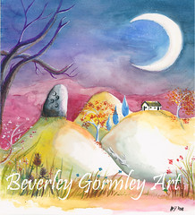 The hare and the standing stone (Beverley Gormley Art) Tags: standing stones landscape fairytale archaeology cottage hills art painting watercolour moon hare trees flowers autumn hares pagan ethereal