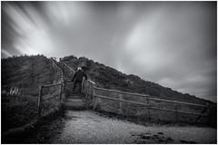 Going up (Marcel Kramer K3ll) Tags: longexposure blackandwhite view stairs movingclouds me marcelkramer pentax dunes 30sec