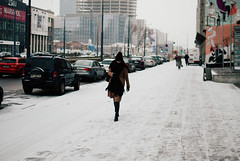Slick (ewitsoe) Tags: ewitsoe nikon street warszawa winter erikwitsoe erikwitsoecom poland snow urban warsaw snowing ice caution woman walking heels wind weather constuction streetscene lightandshadow