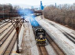 Smokin' Out the 312 (Wheelnrail) Tags: cn canadian national illinois central chicago il emd sd70 locomotive railroad rail road l536 train local transfer glenn yard kirk subdivision mainline midamerica smoky