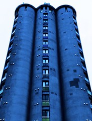 Something Blue (lindsipindsi_) Tags: saturation squares graphic street norway oslo blue silo architecture windows