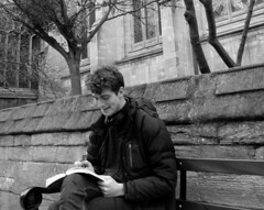 Public bench (Snapshooter46) Tags: man sitting publicbench oxford people monochrome blackandwhite writing