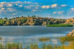 Peaceful Afternoon (Carl Cohen_Pics) Tags: willowcreekreservoir prescott arizona summer lake rocks granite grass ducks americancoot marsh clouds afternoon peaceful blue blueskies canon canon7dmarkii nature naturephotography
