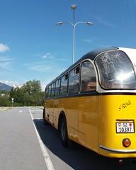 An einer Autobahnraststätte in der Schweiz ist jetzt sogar ein ganzer Bus abgestellt worden. Direkt nach eintreffen verließen Fahrgäste und Fahrer fluchtartig den Oldtimer-Bus der Marke Saurer in Richtung Gebäude. (QQ Vespa) Tags: oldtimer reisebus bus omnibus classic historical historisch schweizerbus saurerarbon 3dux 1960 srösli suisse saurer