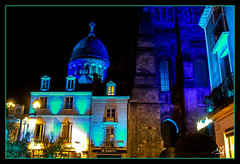 Basilique Saint-Martin et tour Charlemagne vues de la place Chateauneuf / St. Martin's Basilica and Charlemagne Tower views from Chateauneuf Square - Tours (christian_lemale) Tags: tours nuit night parcours lumière light path touraine france nikon d7100
