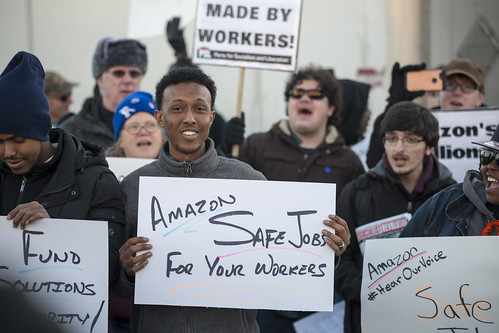 East African worker protest against Amazon