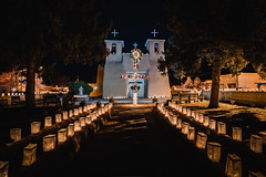 The Path to Salvation (Trent's Pics) Tags: new mexico night photography path salvation roman catholic san francisco de asis architecture christmas church lights luminarias mission taos