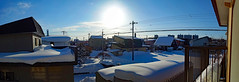 View After the Blizzard 1, variant (sjrankin) Tags: 21january2019 edited panorama sky sun weather clouds snow houses wires lines neighborhood balcony kitahiroshima hokkaido japan 1167mb large