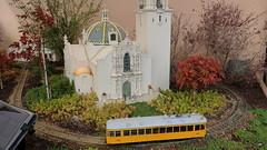 190124 078  San Diego, Balboa Park - San Diego Model Train Museum, outdoor garden, California Bldg, Sedum sexangulare, Thymus 'Doretta Klaber', Acer palmatum cv, Ruschia lineolata