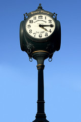 River Place Clock (Anthony Mark Images) Tags: clock sculptured pole darkgreen riverplace frankenmuth michigan usa art nikon d850 beautifulclock lovely