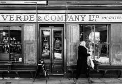 IMG_1120714 (Kathi Huidobro) Tags: verdecompanyltd cafe coffeeshop eastlondon eastend windowshutters londonstreets typography signage spitalfields blackwhite bw monochrome shopfronts facade architecture london oldlondon