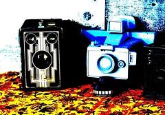 Oldies Pop Art (Twila1313) Tags: oldcameras boxcamera polaroid vintagecameras antiques cameras popart retro warhol posterart posterization sonynex5n minolta50mmf14 colors pop abstract artdeco