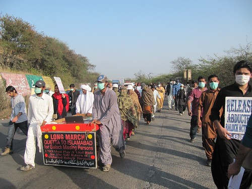 Relatives and supporters of missing persons, presumed in Pakistani custody, from Balochistan, near Islamabad, Pakistan.
