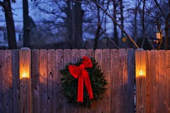 Home for the Holiday (jp254958) Tags: colors pa malvern chestercounty pennsylvania longexposure sky color beautiful peaceful colorful fence wreathes wreath candles country holiday christmas