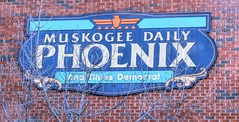 Muskogee Daily Phoenix (clarkcg photography) Tags: wall sign muskogeedailyphoenix paper newspaper mythology mythological phoenix bird wednesdaywalls flickrfriday