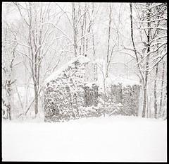 Mill in snow (efo) Tags: bw film agfarapidformat 24x24 minolta24rapid virginia mill ruin snow blizzard