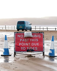 95 of Year 5 - Someone always knows better (Hi, I'm Tim Large) Tags: sign warning beach westonsupermare weston high tide tides fuji fujifilm xe1 1855mm 365 95 caution vw t4 transporter camper van blue