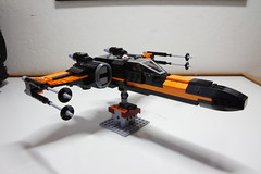 (Improved) Poe Dameron's X-wing: Right-Front View (Evrant) Tags: lego star wars custom x wing t70 t 70 moc bb8 poe dameron black one spaceship starship ship starfighter evrant