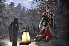 Nostalgic Winter (LiangScorpio) Tags: winter snow secondlife sl oiran kimono tayuu geta snowfall poem
