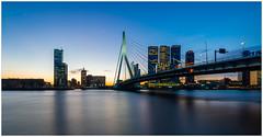 Erasmusbrug Rotterdam (Rob Schop) Tags: erasmusbrug rotterdam sonya6000 wideangle samyang12mmf20 f11 pscc lrcc nd64 hoyaprofilters sunrise maas bridge