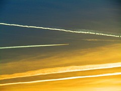Contrails In The Sunset (Gary Chatterton 5 million Views) Tags: contrails vapourtrails airliners jetliner sunset sun eveningsky flight flying highinthesky sky atmosphere altitude flickr explore canonpowershot photography selby northyorkshire unitedkingdom aviation