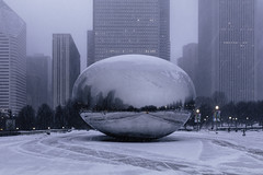 Plow paths (aerojad) Tags: eos canon 80d dslr 2019 winter january city urban chicago snow snowing snowscape outdoors thebean cloudgate millenniumpark skyscrapers skyscraper park reflections reflection