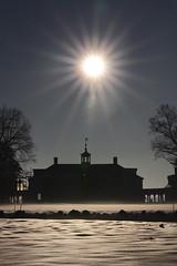 Mansion and Sunburst (Rob Shenk) Tags: mountvernon snow virginia winter fxva mansion colonial georgewashington january landscape sun sunburst