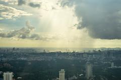 Sunbeams shining through Clouds in Kuala Lumpur