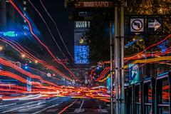 anticipated terminus (pbo31) Tags: sanfrancisco california city urban night dark black november 2018 color nikon d810 boury pbo31 marketstreet financialdistrict ferrybuilding roadway motion lightstream muni bus stop red