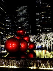 Christmas in NYC (pjpink) Tags: red christmas balls sculpture urban city night sparkly christmassy christmasy holiday festive nyc newyork newyorkcity ny november 2018 fall pjpink 2catswithcameras