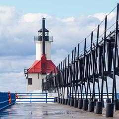 Catwalk to St. Joseph Light (mjhedge) Tags: soe stjoseph lighthouse catwalk lakemichigan michigan puremichigan getolympus oly olympus omdem1mkii omd olympusm40150f28 em1mkiiomdem1markii em1ii 40150mm 40150