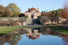 Reflecting pool and the historic 1908 Lakewood Memorial Chapel in Minneapolis, Minnesota,  The chapel was designed by architect Harry Wild Jones. The design was based on the Hagia Sophia in Instanbul, Turkey (thstrand) Tags: 19001909 1908 1909 american architecturalstyle architecture backgrounds beigegranite building buildings builtstructure byzantinerevival chapels charleslamb christian christiansymbols church dome early20thcentury exterior front harrywildjones historicsite history lakewoodcemetery mn memorialchapel minneapolis minnesota nationalregisterofhistoricplaces nobody outside religion religious sanctuary stcloudgranite stone structures traveldestination us usa unitedstatesofamerica