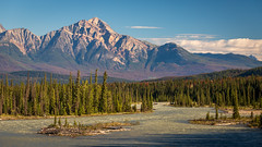Morning on the Athabasca River (Brady Baker) Tags: canada alberta jasper athabasca river pyramid mountain morning water flow trees forest pine glacial valley peak sky outdoor nature picturesque serene tranquility travel national park