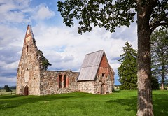 Ancient roofless church ruins on a beautiful sunny mid-summer day in Finland (Digikuvaaja) Tags: europe finland stockphoto ancient arch attraction brick building cathedral christian christianity church culture destination destroyed door exterior faith famous gothic grass green heritage historic historical history landmark landscape medieval monastery monument old park red religion religious remains rock roofless ruins stone structure summer sunlight sunny tourism traditional travel wall window