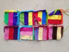 Eight of sixteen television test pattern crochet squares (crochetbug13) Tags: crochetsquares crochet crocheted crocheting crochetrectangles crochetremnants crochetblanket projectamigo