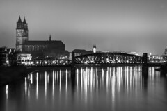 Hubbrücke (knork2photo) Tags: dom magdeburg elbe kunstprojekt hubbrücke schwarzweis nannuccis bridge cathedral liftbridge dark