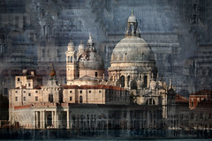 Santa Maria della Salute (HWHawerkamp) Tags: santamariadellasalute architecture doubleexposure multipleexposure palace creativeedit venice italy church religion christian scared holy spiritual medieval history old