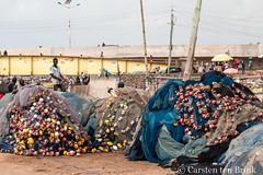 Elmina dock (10b travelling / Carsten ten Brink) Tags: 10btravelling 2017 africa african afrika afrique carstentenbrink elmina genericplaces ghana ghanaian goldcoast gulfofguinea iptcbasic oldtown otherkeywords places westafrica coast fishmarket fishingnet floats harbour market net nets shore tenbrink