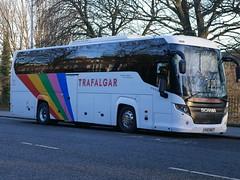 Tranzcare Travel of Manchester Scania K360IB4 Higer Touring YR16BNV, with Trafalgar Tours vinyls,  at Regent Road, Edinburgh, on 28 December 2018. (Robin Dickson 1) Tags: yr16bnv scaniak360ib4 busesedinburgh higertouring trafalgartours tranzcaretravelofmanchester