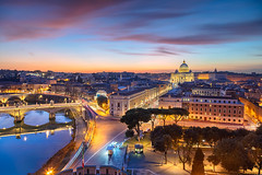 Rome. (Rudi1976) Tags: rome vaticancity italy cityscape architecture basilica street evening sky buildingexterior landmark famous traveldestination travel tourism outdoor city town downtown europe tiberriver historical urbanscene skyline cathedral scenic beautiful aerial capitalcity twilight sunset dusk landscape church religion ancient christianity saintpeterbasilica dome roman illuminated old river riverside bridge